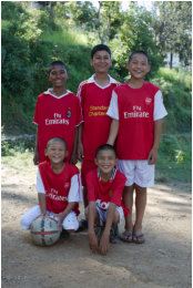 The boys in their new soccer kits